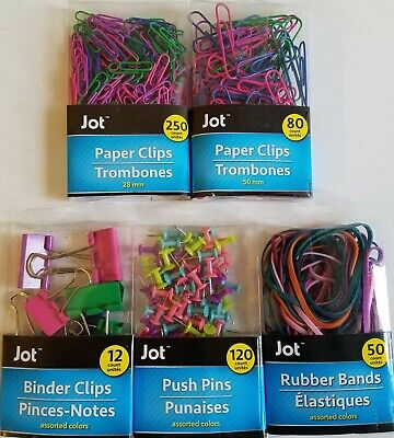 Paper Clips Clamps Pins Rubber Bands Dark Colors Select Type