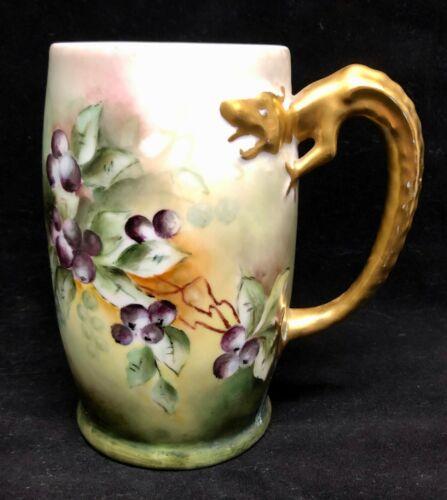 Antique Bavarian Porcelain Hand Painted Arts Crafts Beer Cider Mug Dragon Handle