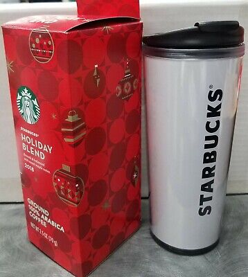 16 Oz. Starbucks Plastic Travel Mug Tumbler White with Logo 100% Authentic