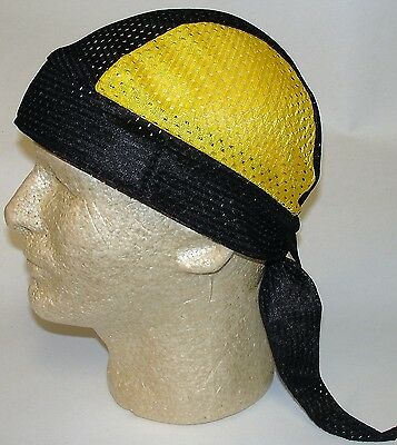 Gold Black Vented Terry Cloth Sweatband Doo Rag Headwrap Skull Cap MADE IN USA