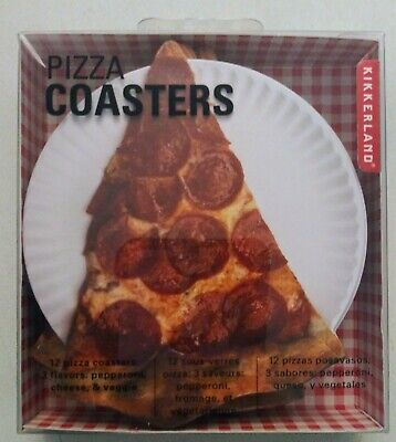 Kikkerland Design Pizza Drink Coasters Set of 12, with 3 Different Designs -