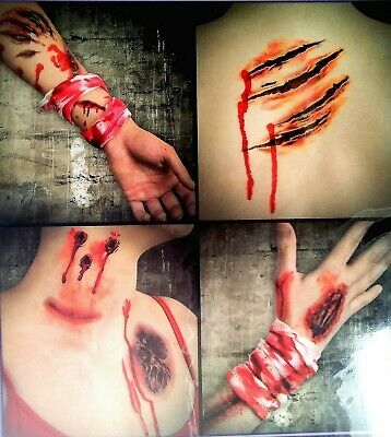 Halloween Gory Treats (Gory Realistic Halloween Temporary Tattoos 4 Sheets Trick Or Treat Party)