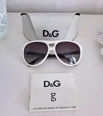 orig. DOLCE & GABBANA Sonnenbrille weiß schwarz D&G 8070 Etui Papiere sunglasses