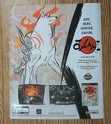 Okami Japanese White Wolf PlayStation PS2 2006 Vintage Game Ad/Poster Promo