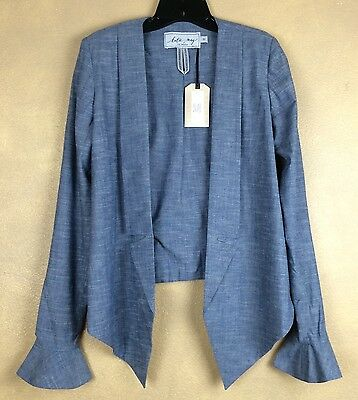 Jacket Katie May Blue Lightweight Cotton Blend Long Sleeve Circular Flounce NWT  - Katie Long Jacket