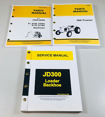 Service Manual Parts Catalog Set For John Deere 300 Jd300 Tractor Loader Backhoe