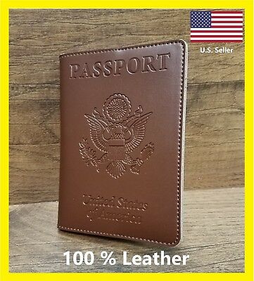 100% Leather United States Embossed Passport Wallet US Seller