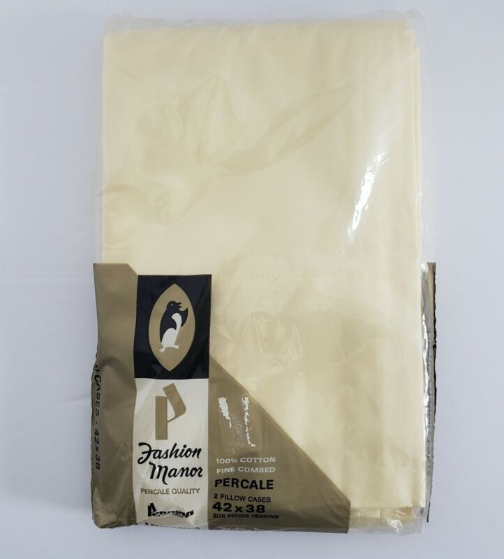 1 package Vintage NOS Penneys Fashion Manor 2 Pillowcases Light Yellow Percale B