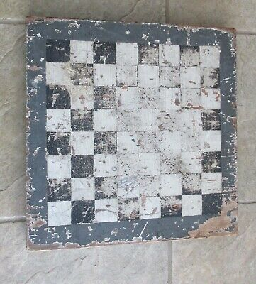 Antique Maine Estate Wooden Handmade Checkerboard Primitive Black and White