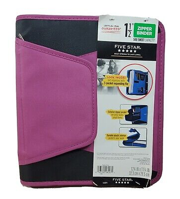 Five Star 1-12 Inch Zipper Pocket 3 Ring Binder 3 Pocket Expanding File Purple