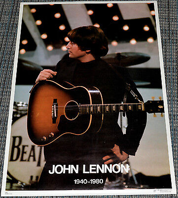 JOHN LENNON PLAYING GUITAR 1940-1980 TRIBUTE! 1980 ORIGINAL 20x28 PINUP POSTER!