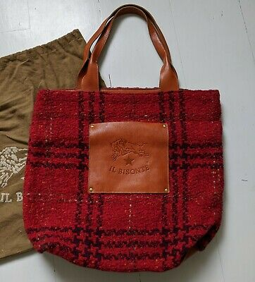 IL BISONTE red check wool leather tote should bag w/ dustbag