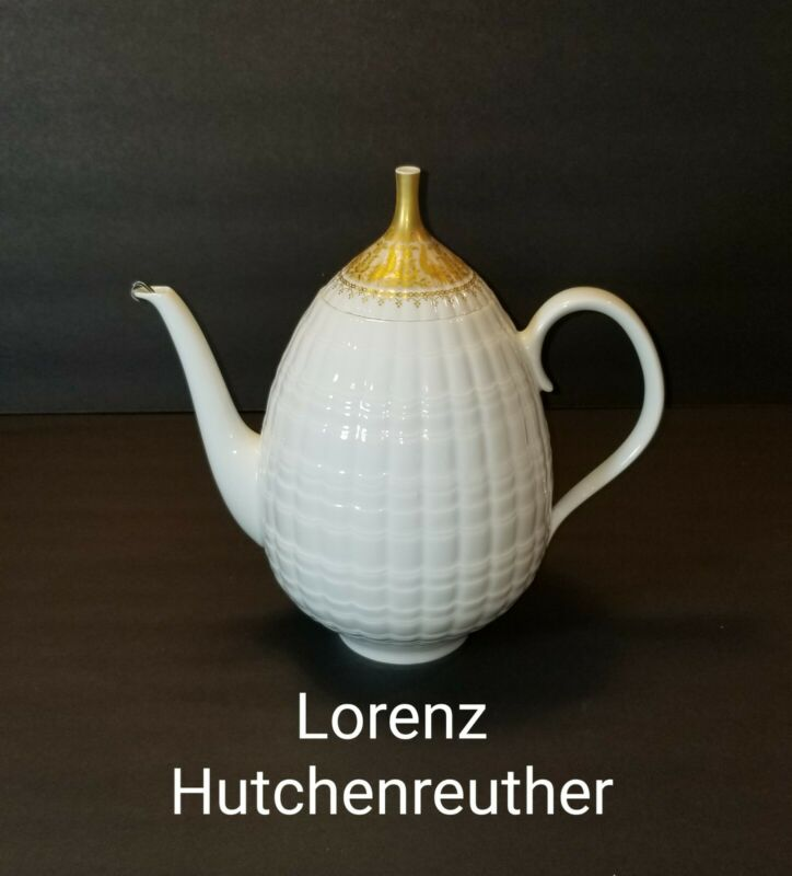 VINTAGE HUTSCHENREUTHER LUCINA GOLD BORDER TEAPOT/COFFEE/MOCHA