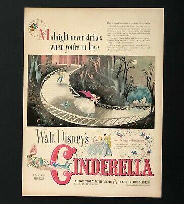 1950 Walt Disney Cinderella Movie Advertisement Promo Love Story Vtg Print AD