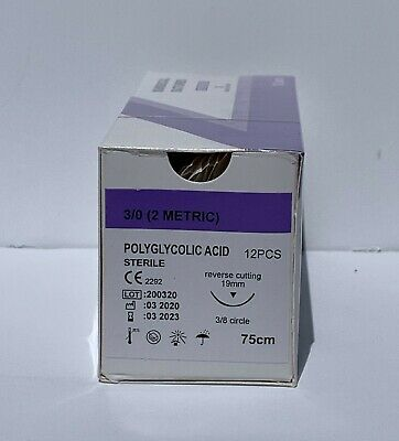 Veterinary Surgical Suture 30 Pga 12ct Polyglycolic Acid Reverse Cutting 19mm