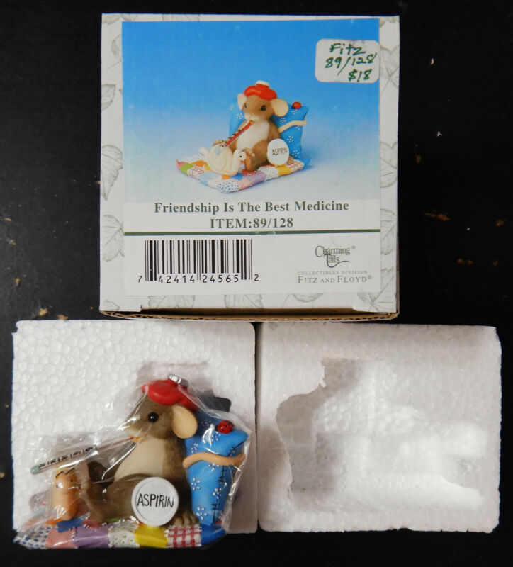 """Charming Tails """"FRIENDSHIP IS THE BEST MEDICINE"""" Turtle Mouse Figurine New in Bo"""