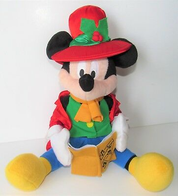 Rare Disney Animated Deck the Halls Christmas Musical Mickey Mouse Plush 11""