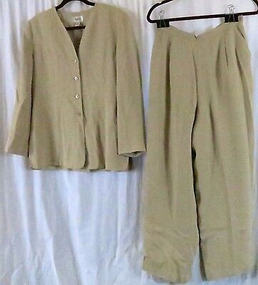 Talbots Petites 12 Pin Stripes Yellow Pant Suit Lined