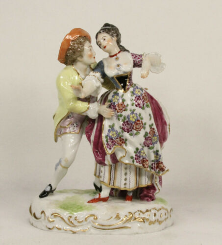 Antique Hochst Hand Painted Porcelain Figurine Romantic Couple