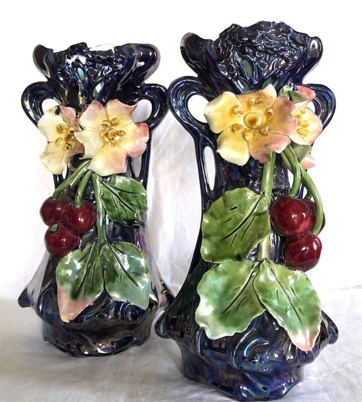 Antique Majolica True Pair Art Nouveau Vases