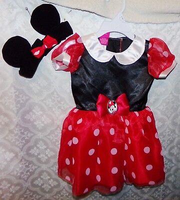 Disney Minnie Maus Kostüm Neu Baby Kleinkind 9 - 12 Mos Kopfband Kleid (Maus Kopf Kostüm)