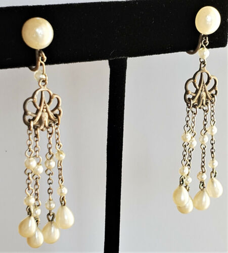 Stunning AUTHENTIC Antique Pearl Chandelier Dangle WEDDING Earrings Screw Back