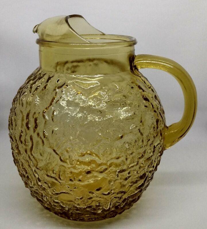 Vintage Lido Ball Pitcher. 3 Qt. Anchor Hocking. Honey Gold. Amber. 1960s-70s.