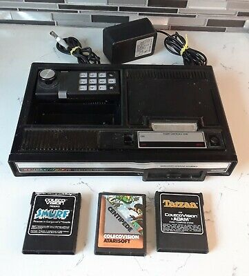 ColecoVision Console Bundle w/ 3 Games: Smurfs, Centipede, Tarzan [TESTED-WORKS]