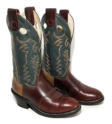 "Double H 12"" Buckaroo Western Work Boots Dark Brown Forest Green Men Size 7D"