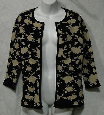 NWT Coldwater Creek Size XS Moonlight Black and Tan Floral 3/4 Sleeve Cardigan