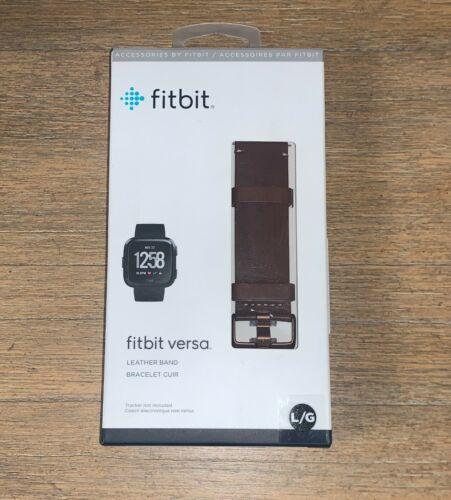 Genuine OEM Fitbit Versa & Versa 2 Leather Band Cognac Brown Large NEW IN BOX