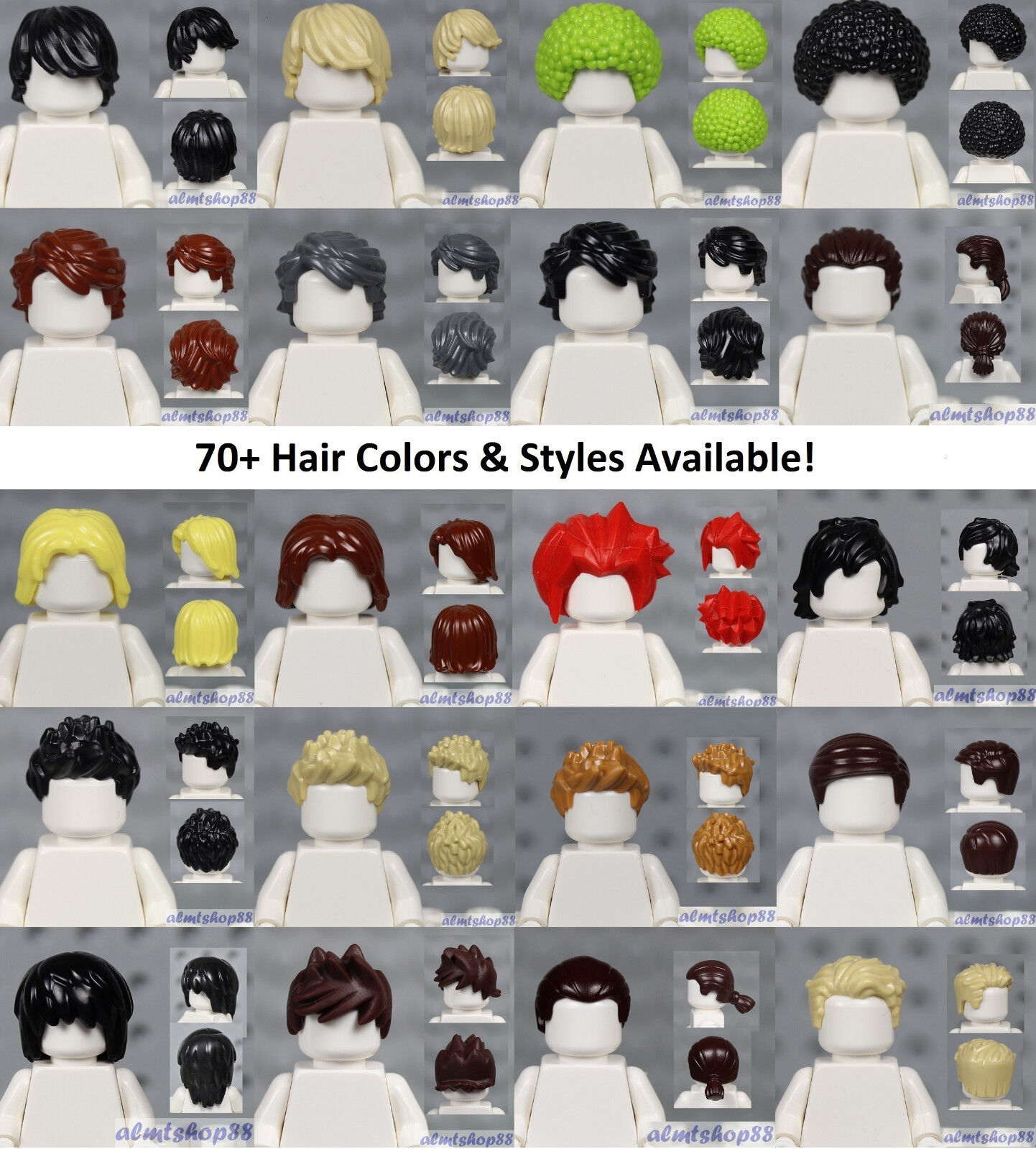 Hair Tousled with Side Part colour mix  NEW Lego City 3 x Minifigure