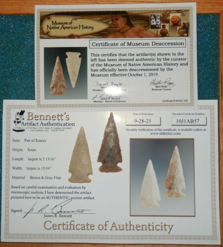 NICE  PAIR OF TEXAS FOUND ENSOR POINTS with JIM BENNETT & MUSEUM COA S  B459