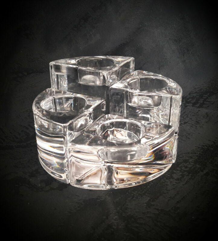 NEW▪ORREFORS▪4 Piece▪Crystal CANDLE HOLDER Round QUARTET Votive Tea Light▪Sweden
