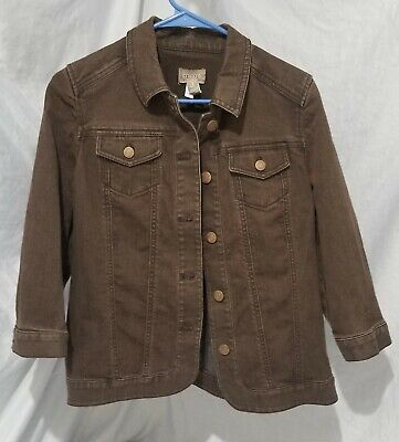 Chico's Brown  Denim Jacket Size 1
