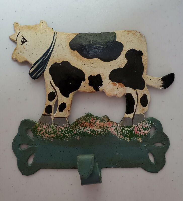 Hand Painted Metal Cow Hook