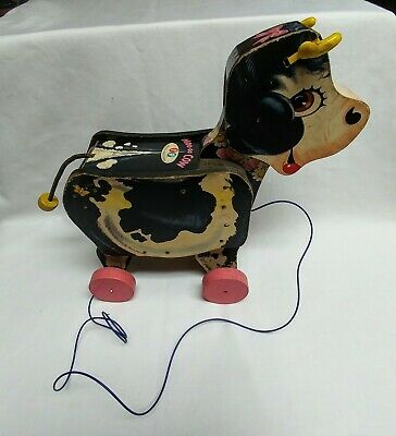 VINTAGE FISHER PRICE #155 MOO-OO COW WOOD PULL TOY 1958