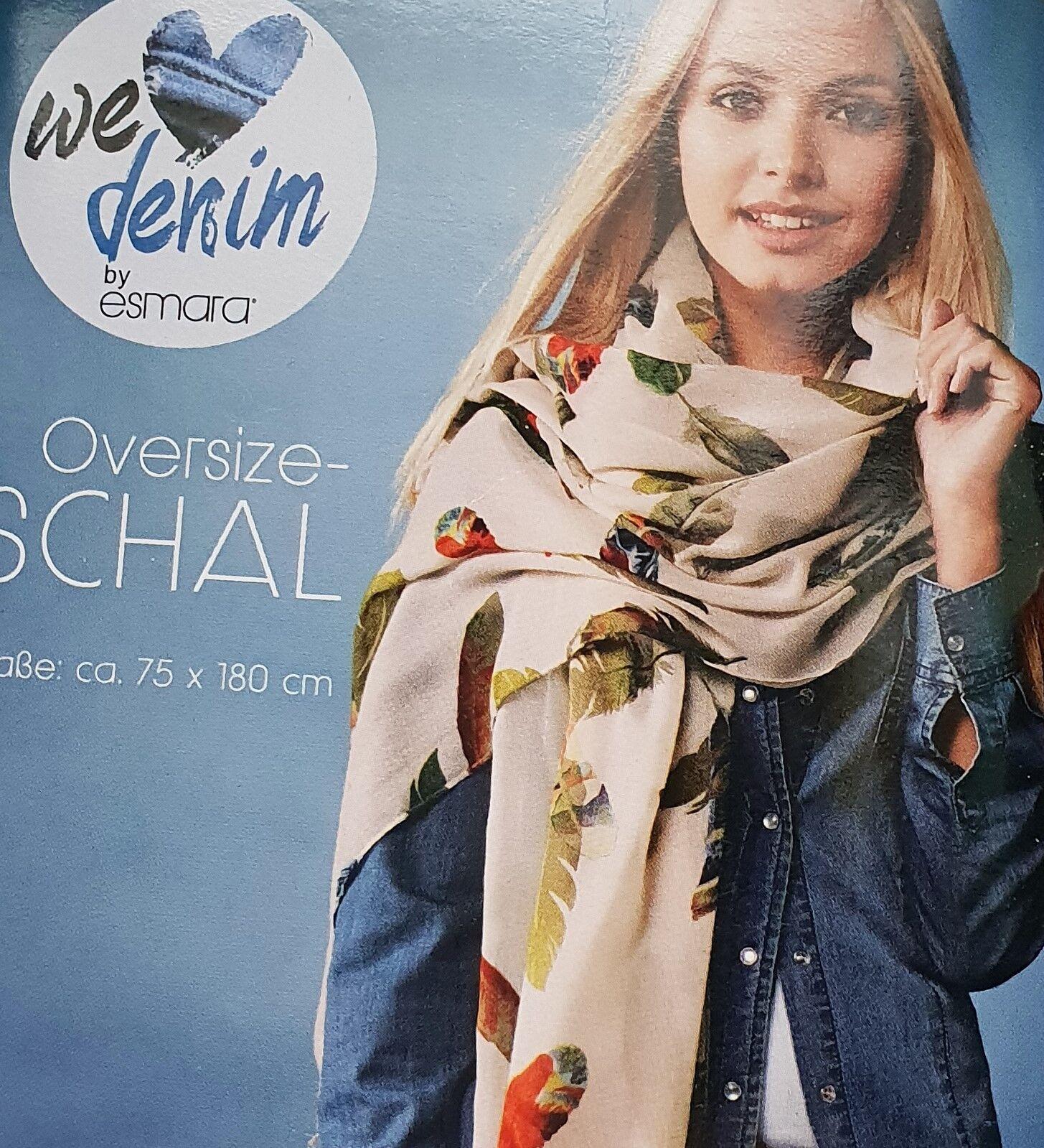 Damen Oversize Schal Leichte & fließende Qualität L 180 x B 75 cm Halstuch Tuch