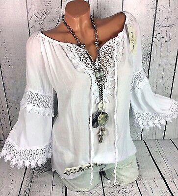 Italia Moda - Ibiza Bluse Tunika Häkelspitze Hippie Style weiß Gr. 40 42