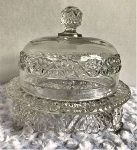 Vintage  Pressed Glass Butter/ Cheese Dish Dome Cover W/  4 Feet and Round Plate