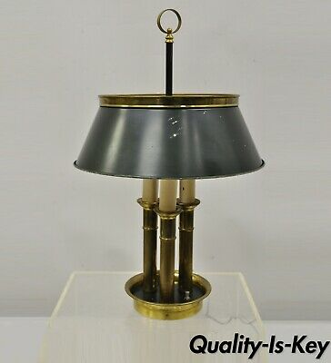 3 Way Switch 1950s Mid Century Style Bouillotte Style Red /& Gold Tole Metal Student Lamp for Desk  Table Large