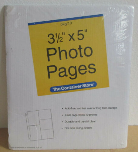 10 New Durable 5 Pocket 3 1/2 X 5 Photo Pages for 3-Ring Binder Container Store
