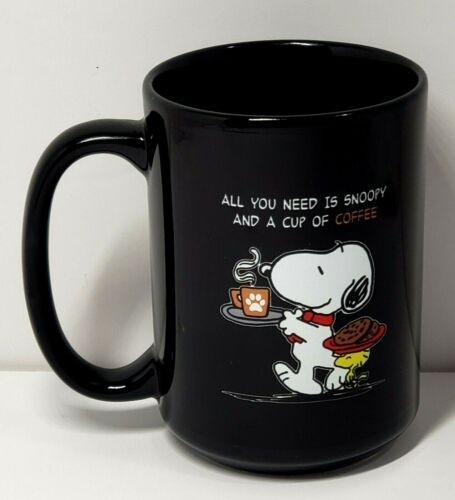"Black Peanuts Snoopy ""All you need is Snoopy and a Cup of Coffee"" Mug Cup"