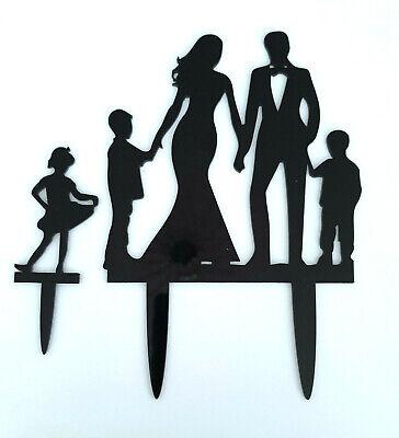 WEDDING CAKE TOPPER-2 SONS/BOYSGIRL/DAUGHTER-BLACK ACRYLIC-FAMILY-KIDS/CHILD