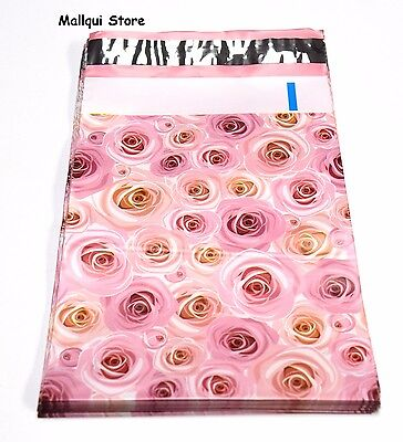 50 Pink Roses Designer 14 X17 Mailer Poly Bags Mailing Plastic Bags 19