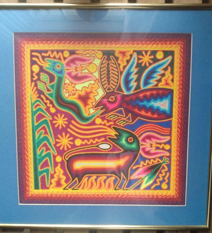 Latin American Mola/Insects/Weaving/Beetles/Folk Art/Vintage/Butterfly/Framed