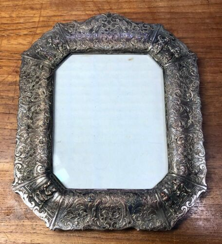 Antique Vintage Old Silver Plate Ornate Design Man Woman Embossed Picture Frame