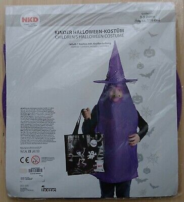 Kinder Halloween Hexe Kostüm, Fasching, Karneval neu & OVP, 3-5 Jahre, bis 116cm