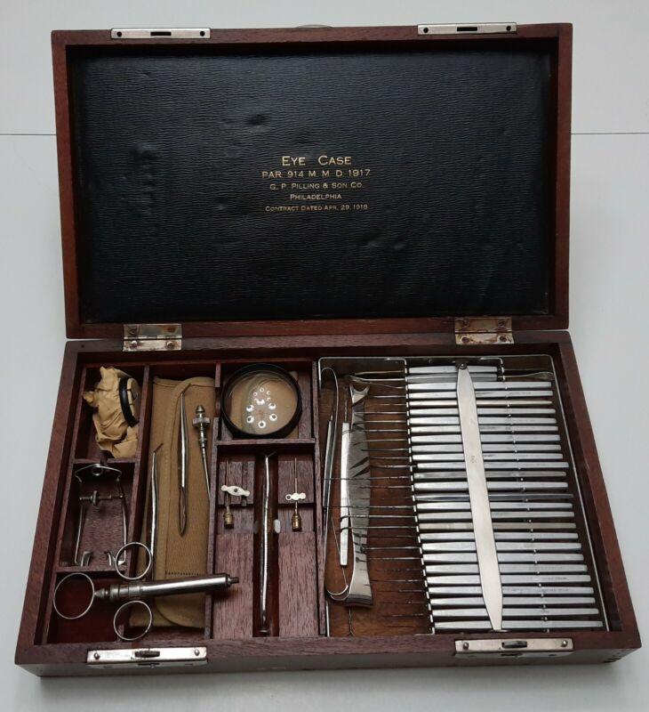Rare Antique U.S. Military Optical Eye Case w/50 Instruments G.P. Pilling & Son