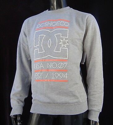 New MHD-35 Dc Shoes Skateboard Stack Sweatshirt Crew Gray Mens